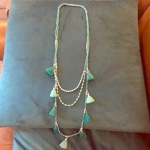 Beaded Turquoise Tassel Layered Necklace